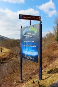 Sign for Nessie Land in the Highlands of Scotland. 2015