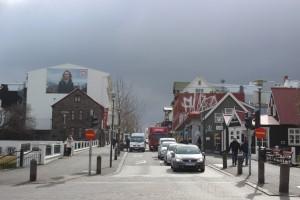 Downtown Reykjavik with dramatic sky